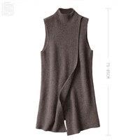 Women's Angora Cashmere High O neck Thick Cape Long Vest Poncho Front Deep Slit Female Sleeveless Wrap Sweater Dress Winter