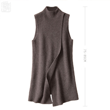 Women's Angora Cashmere High O-neck Thick Cape Long Vest Poncho Front Deep Slit Female Sleeveless Wrap Sweater Dress Winter