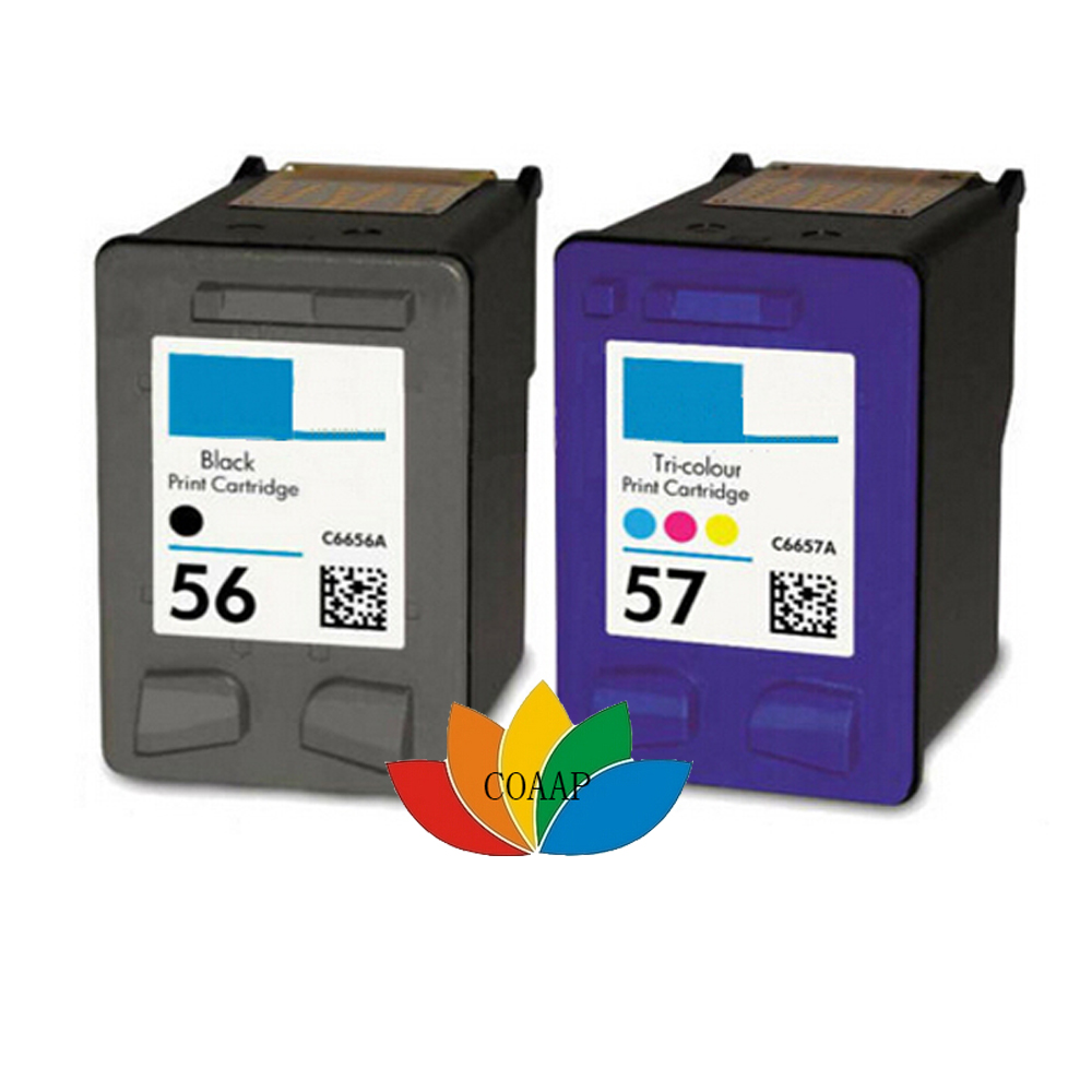 2pk Replacement ink <font><b>cartridge</b></font> for <font><b>HP</b></font> 56 57 Refilled for Deskjet 450Cbi 450Ci 450wbt 5650 5652 <font><b>5550</b></font> 5160 9600 9650 9680 Printer image