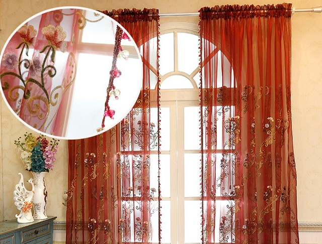 Ready Made Tulle Curtains Voile Cortinas Sheer Curtain Window Cortina For Living Room Customize Size Organza
