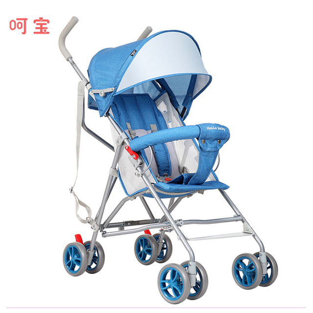 Four Wheels Stroller Lightweight Summer Portable Super Light Sitting Half-lying Baby Carriage Bassinet Pram Folding Buggy 0~36 M