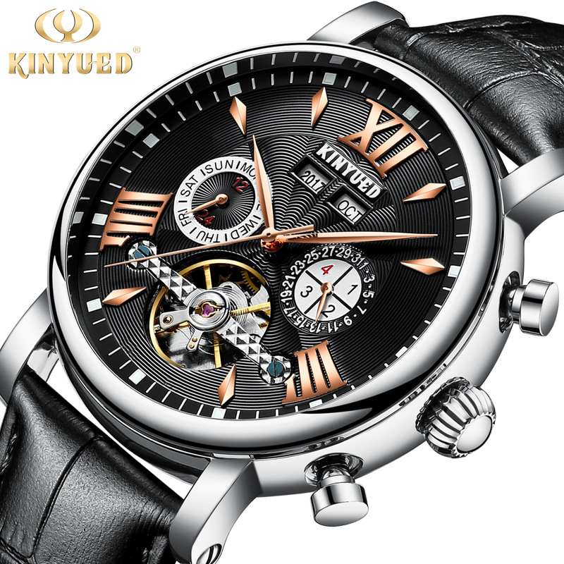 KINYUED Watch Men Automatic Mechanical Mens Genuine Leather Watches Waterproof Multifunction montre homme Tourbillon Clock