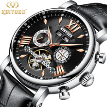 KINYUED Watch Men Automatic Mechanical Mens Genuine Leather Watches Waterproof Multifunction montre homme Tourbillon Clock цена и фото