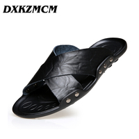 DXKZMCM Men Summer Shoes Big Size 38 45 Men's Sandals Quality Leather Casual Breathable Man Beach Sandals