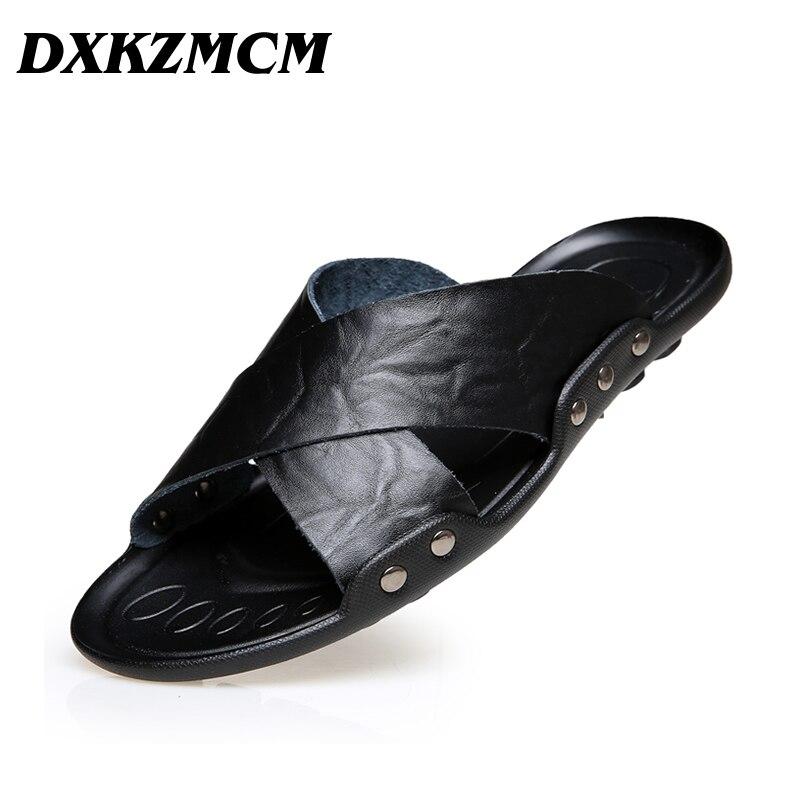 DXKZMCM Men Summer Shoes Big Size 38-45 Mens Sandals Quality Leather Casual Breathable Man Beach Sandals