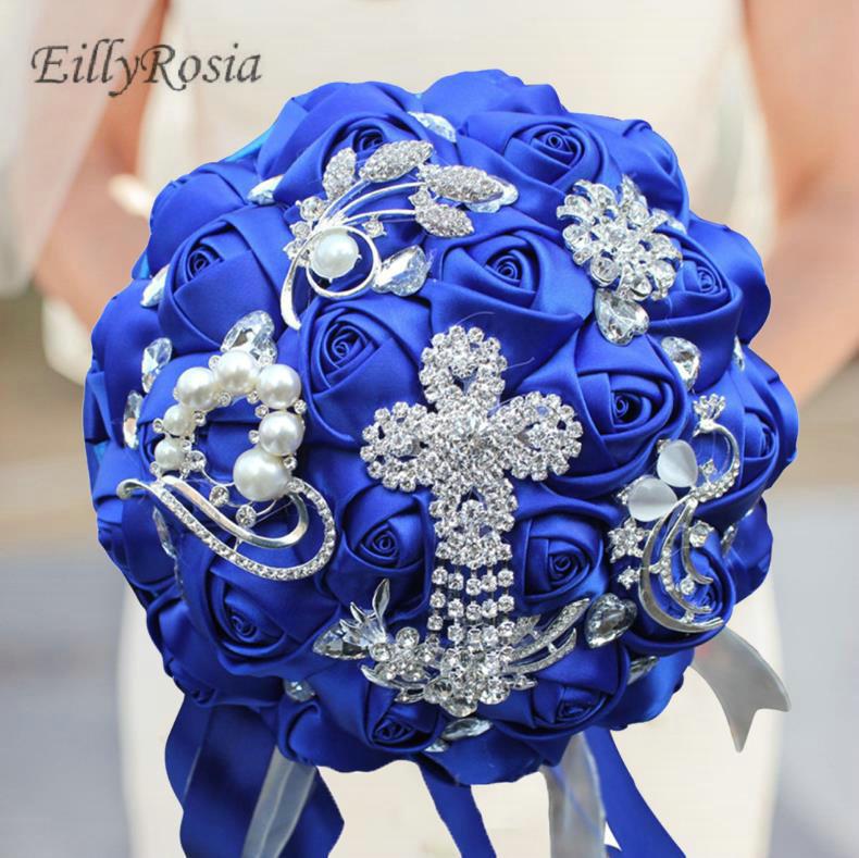Royal Blue Bridal Bouquet for Bride Bridesmaid Elegant Jewelry Brooch Custom Made Color Satin Roses Wedding Bouquet de la mariee