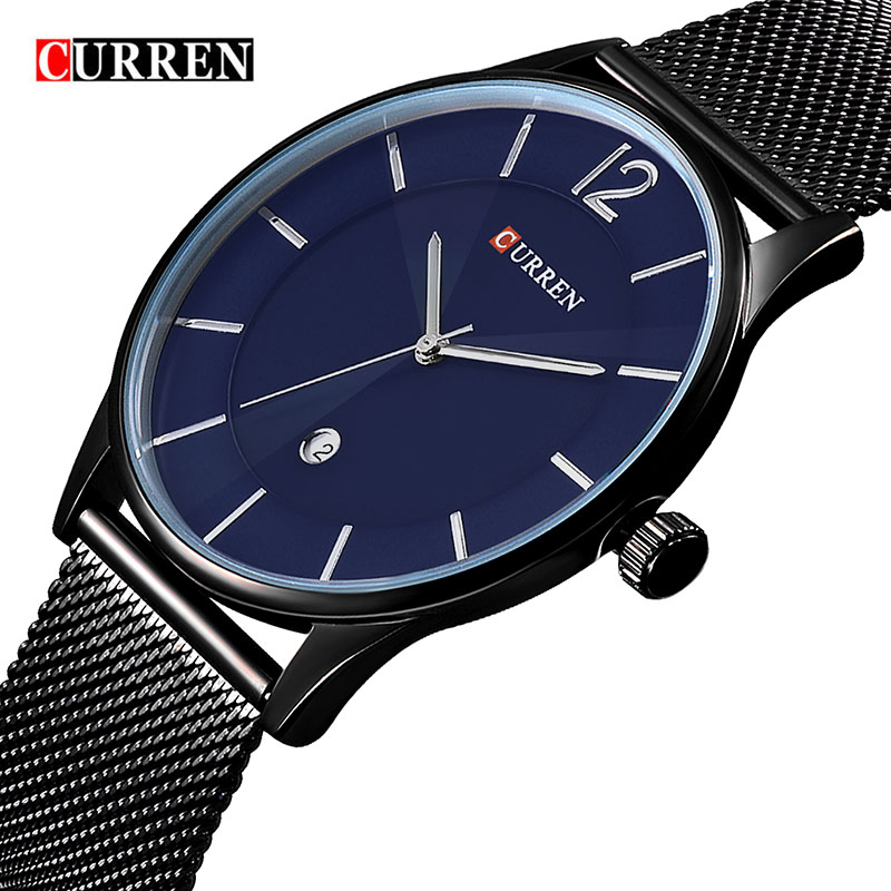 Relogio Masculino De Luxo Mesh Strap Watch Mens Watchs Top Brand Luxury Watch Men Nipis Fesyen Jam Lelaki jam tangan Kuarza