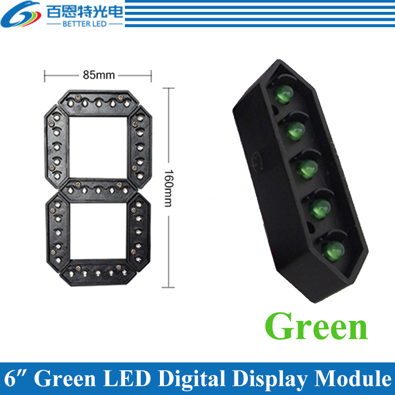 "4pcs/lot 6"" Green Color Outdoor 7 Seven Segment LED Digital Number Module for Gas Price LED Display module-in LED Displays from Electronic Components & Supplies"