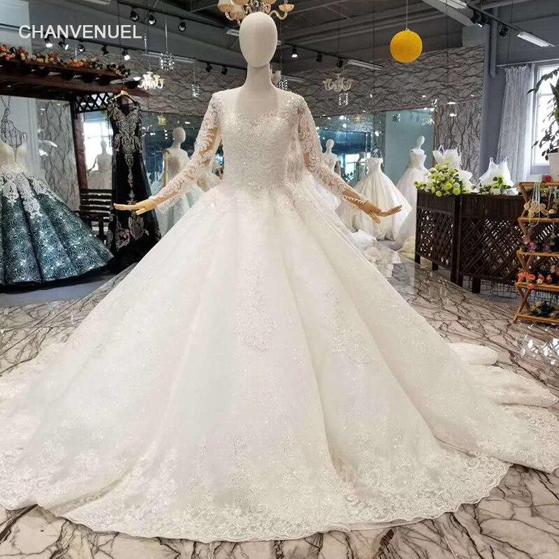 LSS058 de mariage musulman robe o cou à manches longues dentelle dans le dos robes de mariage de mariée 2018 chine usine en gros expédition rapide