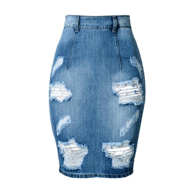 Verano 2017 Moda Vintage Denim Faldas Para Mujer Jeans Cintura Alta Falda Rasgada Flaca Azul Midi Falda de tubo Corto Más Tamaño