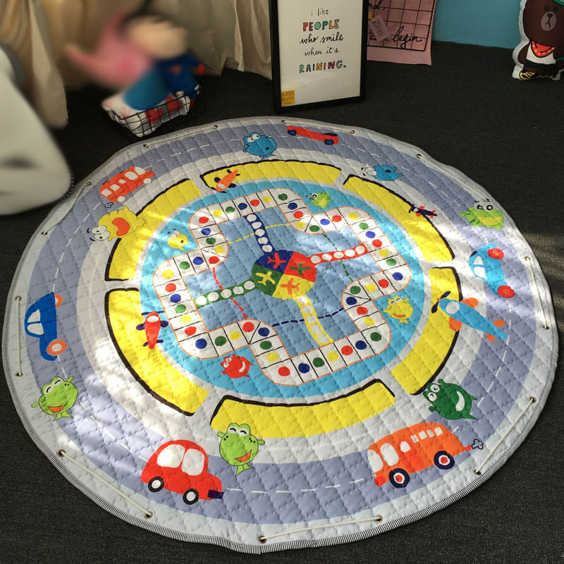 QWZ Baby Play Mat Cartoon Animals Ludo Round Storage Mat Children Non-Slip  Crawling Mat Game Pad Kids Toys Play Pouch INS Style