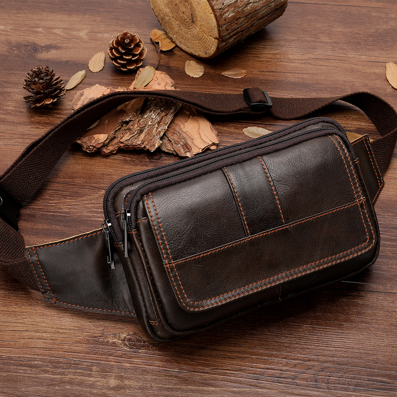 Genuine Leather Waist Bag For Male Belt Bag Men Fanny Pack Men's Leather Waist Pack Bag Man Phone Pouch Small Travel Bag