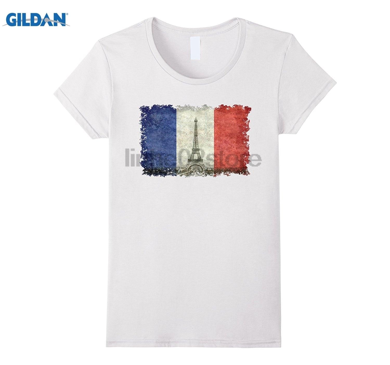 GILDAN Paris Eiffel Tower and French flag T-Shirt V2 sunglasses women T-shirt