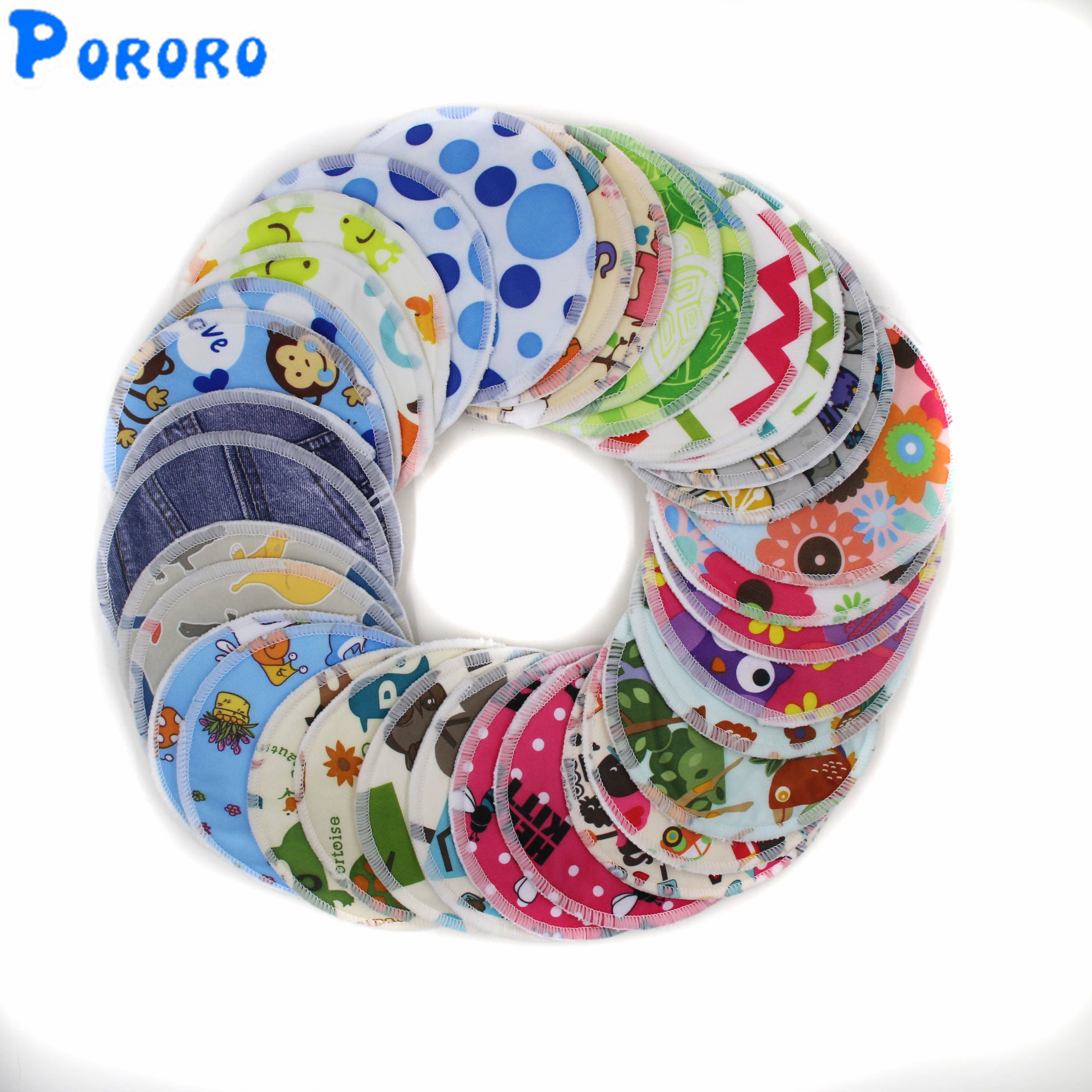 10 Pcs/lot Pregnant Women Washable Nursing Pads Bamboo Cartoon Print Reusable Nursing Pads Lady Breastfeeding Pads Color Random