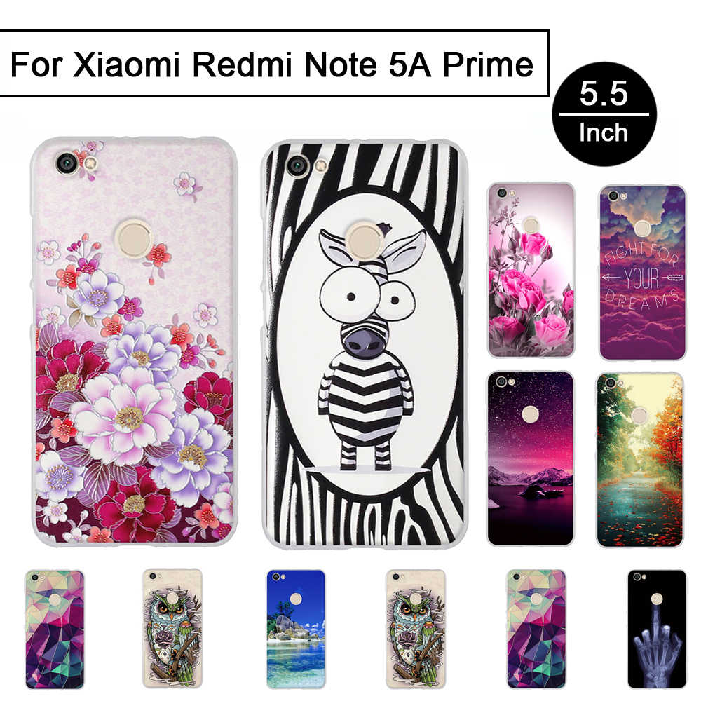 TPU حالة ل Xiaomi redmi note 5 A رئيس 3D الإغاثة غطاء سيليكون ل redmi note 5 A Prime حالات قذائف ل redmi note 5 a Prime