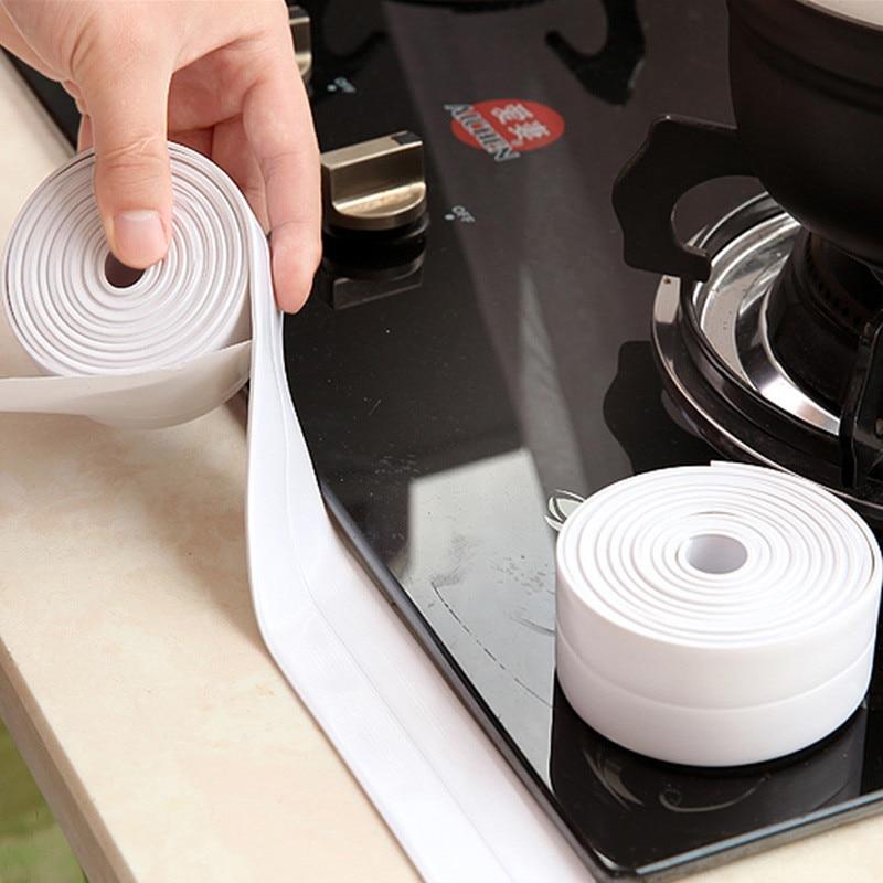 1 Pcs PVC Material Kitchen Bathroom Wall Foam Tape Sealing Tape Glue for Super Fix Tape Waterproof Mold Proof Adhesive Tape