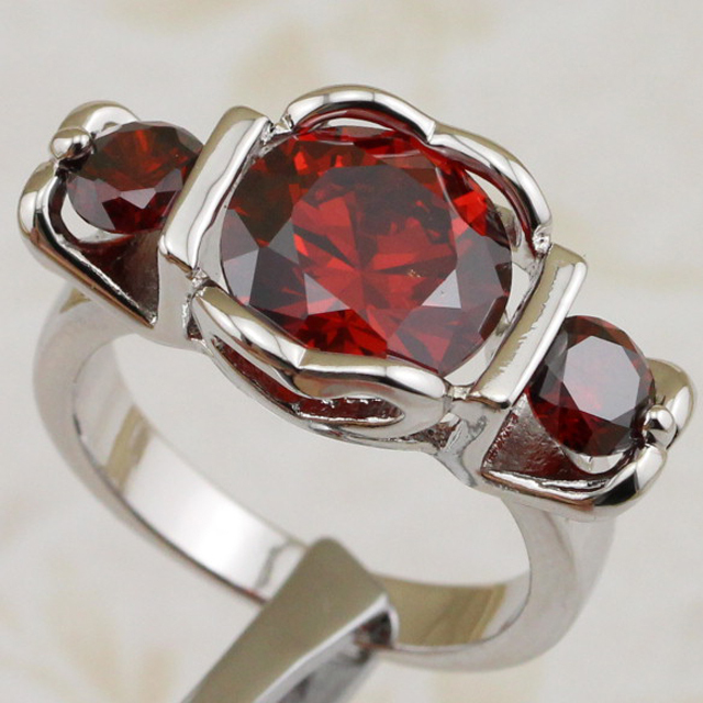 Size #5.5 #7 #7.5 #8.5 Hot Grace Classical Red CZ Gems Ring Rhodium Plated Jewelry Gift For Women MB091C