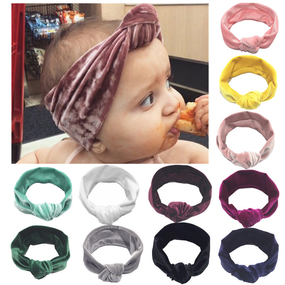 Cute Kids Girls Baby Toddler Velvet Headband Knotted Band Accessories Headwear