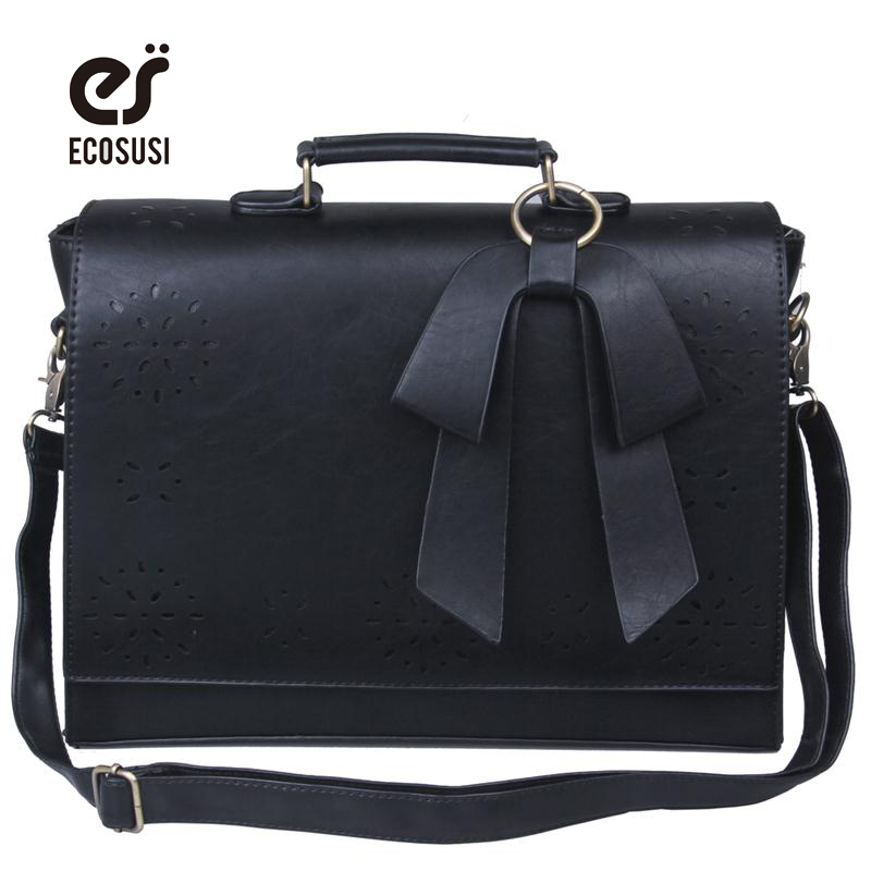 ECOSUSI New Women PU Leather Handbags Vintage Pu Leather Messenger Bags Fashion Shoulder Business Laptop Messenger Bags Tote Bag classic black leather tote handbags embossed pu leather women bags shoulder handbags elegant