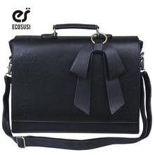 ФОТО ecosusi new women pu leather handbags vintage pu leather messenger bags fashion shoulder business laptop messenger bags tote bag