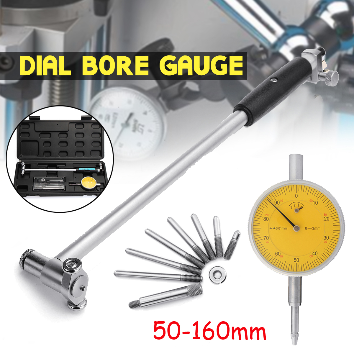 1Set 50mm-160mm 0.01mm Digital Dial Indicator Bore Gauge Hole Diameter Engine Cylinder Measure Gauge Measuring Tool цена