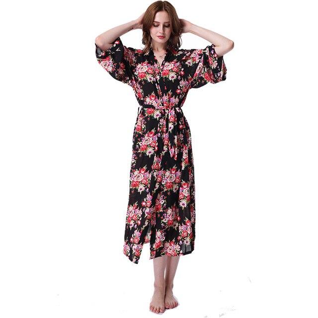 182bfc6743 High Quality 4 Color Women Cotton Wear Silk Sexy Long Pajamas Sleepwear  Kimono Yukata Printed Flower