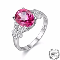 Gemlove Pink Topaz Rings For Girls 925 Sterling Silver Natural Gemstone Engagement Ring Diamond Jewelry Gifts