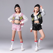 Street Dance Of China Hip Hops Kids Costume Clothing For Girls 3-pcs Sequins Jazz Top Jacket With Pant Outfit