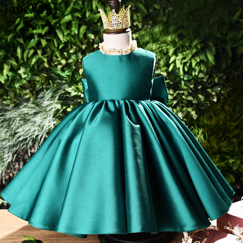 JaneVini Simple Green Satin Long   Flower     Girls     Dresses   for Wedding Party Ball Gown Big Bow Back Ankle Length Robe Ceremonie Fille