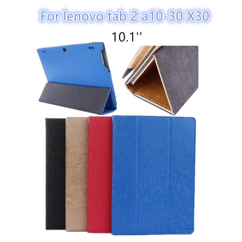 For Lenovo Tab 2 A10 30 leather case cover 10.1'' slim protective stand case for lenovo tab 2 a10-30 X30F X30L tablet case skin for lenovo tab 2 a7 30 2015 tablet pc protective leather stand flip case cover for lenovo a7 30 screen protector stylus pen