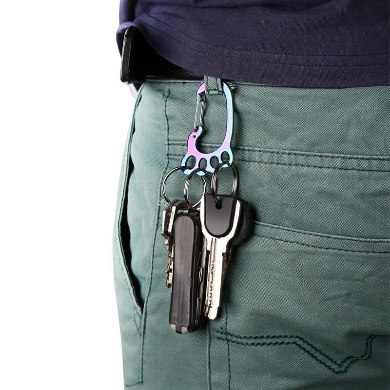 สแตนเลสกลางแจ้งเครื่องมือขนาดเล็กข้อเท้า key chain multi - ring และชายเอวแขวน key ring anti - lost
