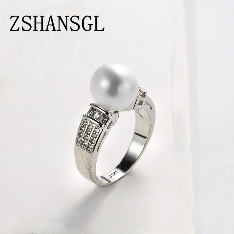 Pearl-Rings Statement-Jewelry Silver Filled Wedding-Fashion Women Cute for Clear AAA
