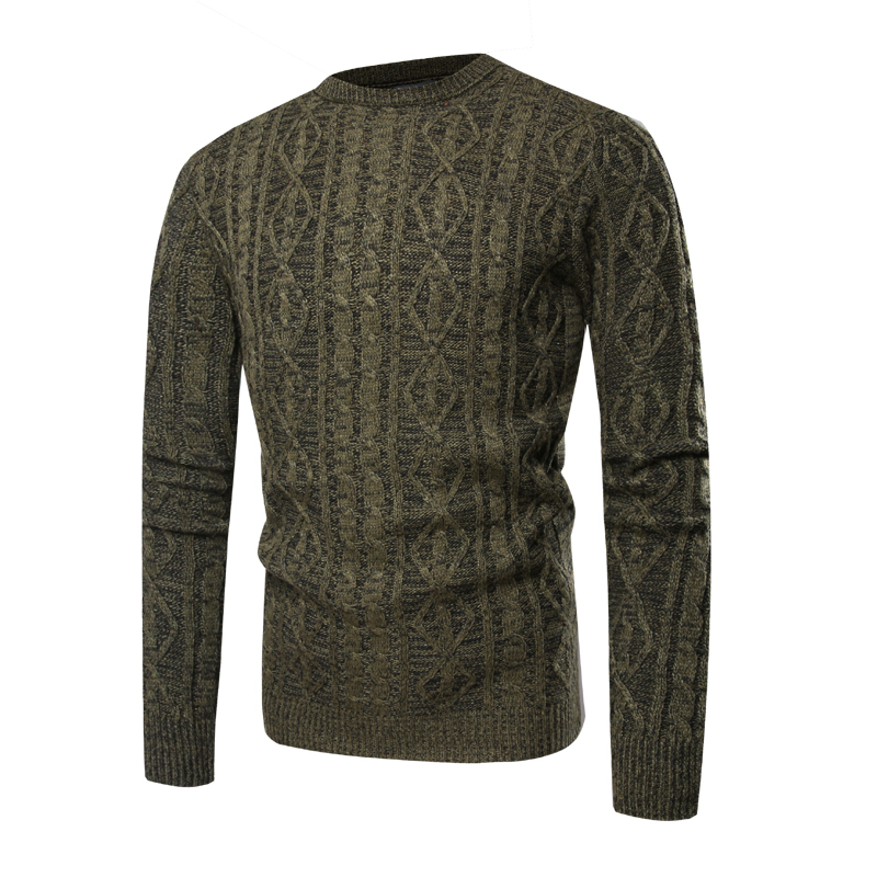 Army Green Knitted Jacquard Sweater Men 2018 Autumn Winter Mens Crocheted Sweaters Casual Long Sleeve Pullover Sweater Homme