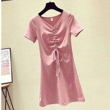 Casual Summer Drawstring Tshirt Dress For Women Cotton Mini Short Sleeve V Neck Shirt Ladies Fashion Dresses C323 цена