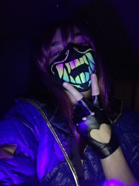 Game LOL KDA Akali Masque Cosplay Props S8 Mask Night Lights Face Masks Women Men Resist The Cold Wind Accessoires 5