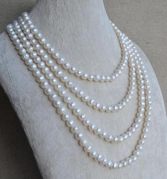 90 inches Long Pearl Jewellery,6-7mm White Color Freshwater Pearl Necklace,Genuine Pearl Jewelry,100% Real Pearls