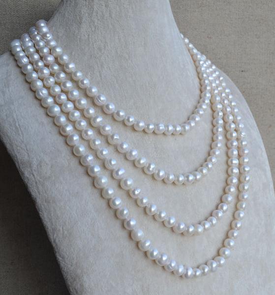 Bijoux en perles de 90 pouces de Long, collier de perles d'eau douce de couleur blanche 6-7mm, bijoux en perles authentiques, 100% vraies perles