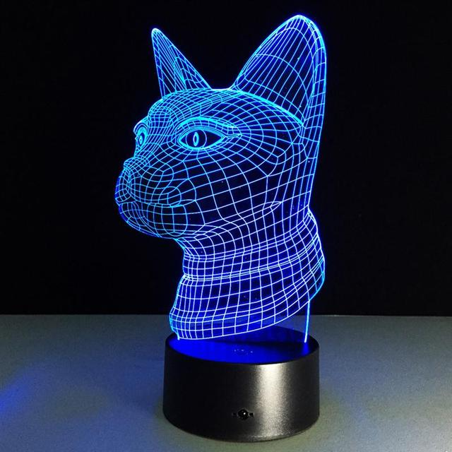 3D Table Lamp Cat Head Visual Light Effect Touch Switch Remote Control Colors Changes Usb Led Night Light