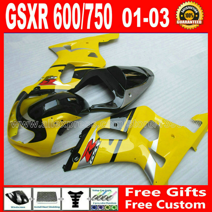 High grade motorcycle fairing set for glossy yellow black 2001 2002 2003 SUZUKI GSXR 600 750 K1 #CGU GSX R600 R750 01 02 03 bomann um 378 cb weis white