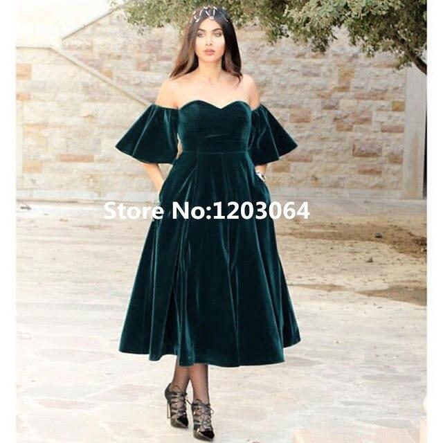 3e18151a6 Novo estilo arábia saudita elegante de veludo vestidos Sexy querida Ombre  vestido chá de comprimento vestido