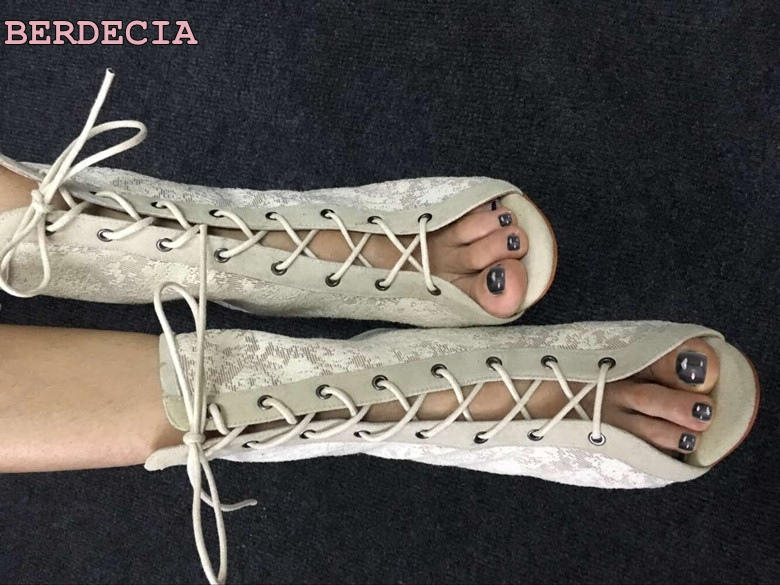 12 cm high heel cool boots lace leather peep toe woman shoes breathable comfortable wild sandal boots lace up ankle short boots lace up comfortable beautiful party shoes woman gladiator boots fashion sexy high heel ankle boots peep toewomen s shoes