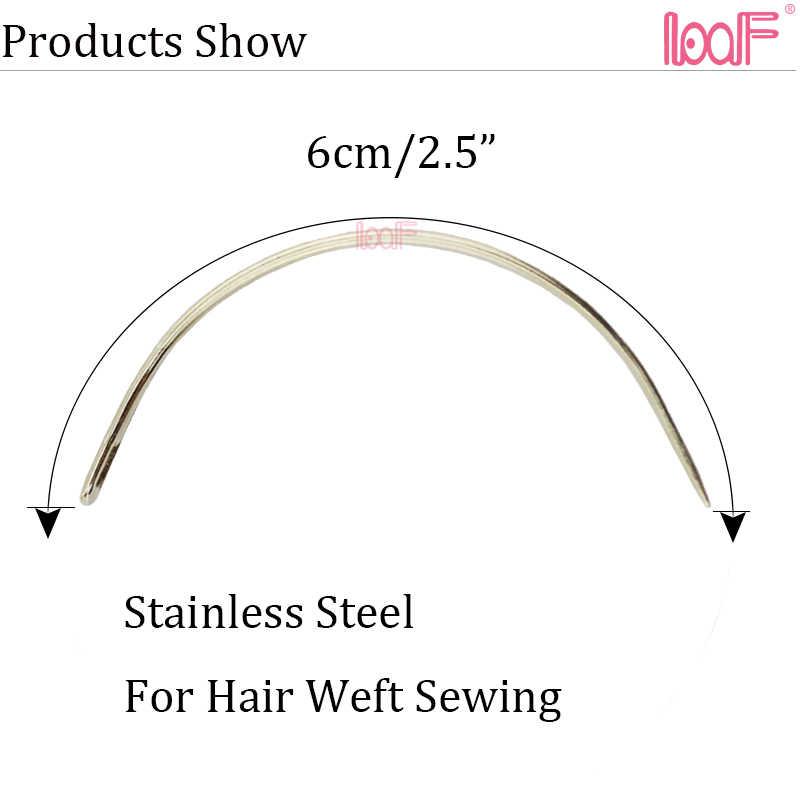 LOOF 12 stuks C TYPE Naalden Van Inslagen Weven Naald 6cm Haar Weven Voor Human Hair Extensions Naaien Gereedschap