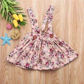 2018 New Girls Dresses Summer Fashion Toddler Kids Baby Girls Floral Printing Sleeveless Clothes Party Bib Strap Tutu Dress 0-4Y 1
