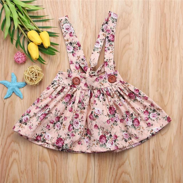 Girls Dresses Summer Fashion Floral Strap Tutu Dress