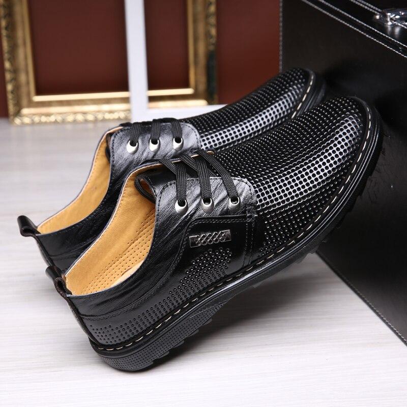 347afb2f522bd7 Oxford Marque Cuir Confortable Véritable Hommes Nouvelle Chaussures D'été  marron Décontractées Noir Pour Respirantes 2019 Mâle jaune Espadrilles ...