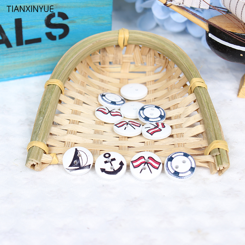 50 pcs 15mm 2-Holes White color Wooden Buttons Sailing navy series Wood Button Clothing Accessories