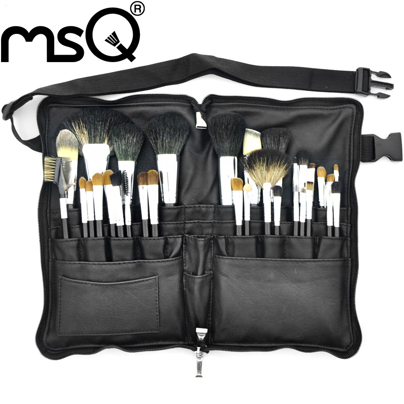 MSQ Makeup Brushes Set Pro 32pcs High Quality Soft Animal Hair Foundation Eyeshadow Make Up Brush Kit With PU Leather Belt Case