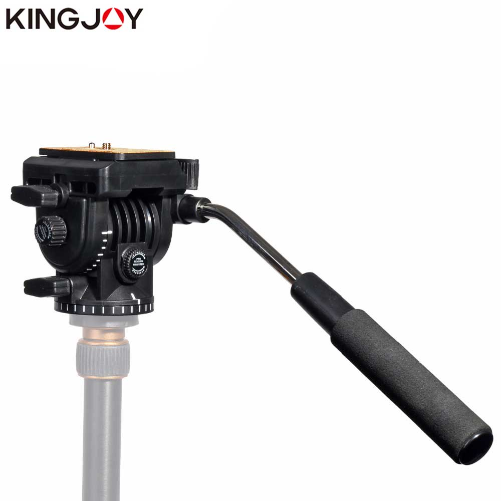 KINGJOY Rəsmi VT-1510 Panoramic Tripod rəhbəri Hydraulic Tripod və Monopod Camera Holder Stand SLR DSLR üçün Fluid Video Head