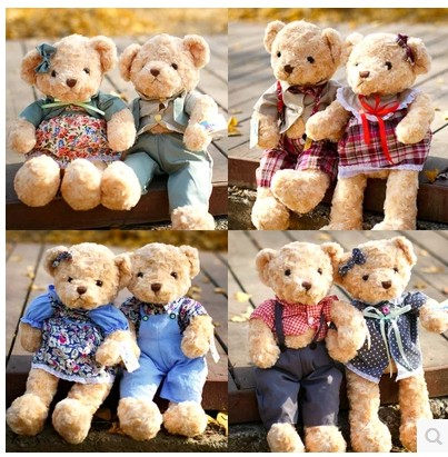 Cute Teddy Bear Dolls Wear the clothes Small Teddy Bear Plush Toys Kawaii Kids brinquedo Gifts Toys For Children 35cm hp7 harry potter and the deathly hallows dumbledore resin magic wand