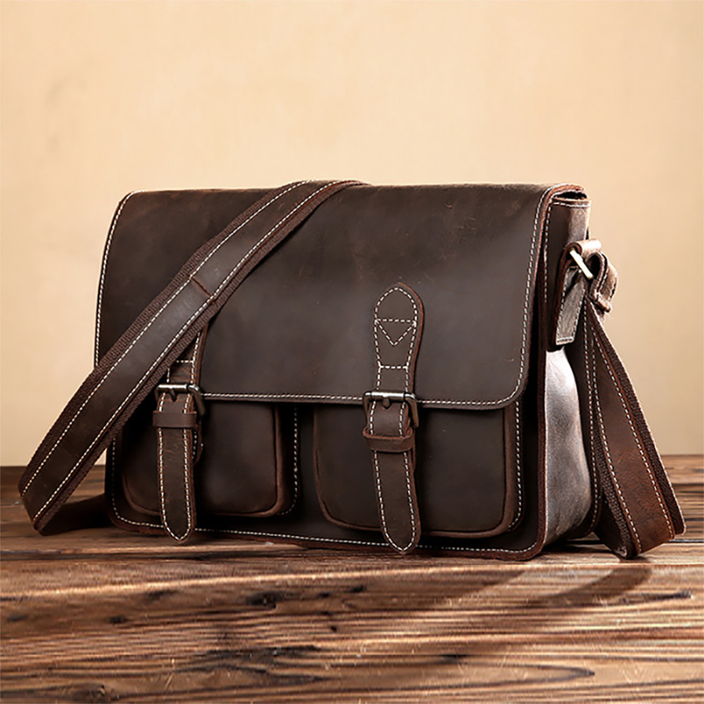 Genuine Leather Crazy Horse Cowhide Cross Body Shoulder Bag Men Laptop Business Briefcase Brand Famous Trend Messenger Bags genuine leather men business handbag laptop tote cross body briefcase brand famous crazy horse cowhide messenger shoulder bag